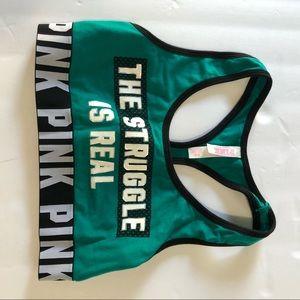 VS Pink sports bra green small